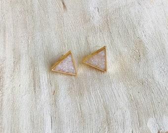 Crushed Stone Triangle Earring - Large