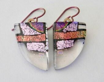 Starry Night Dichroic Glass BraceletFused Glass Bracelet Gift for HerBlack Link BraceletStar Bracelet