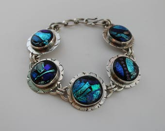 sterling silver + dichroic glass chaos bracelet