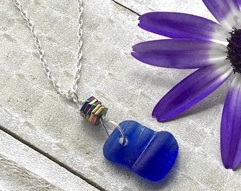 Blue Sea Glass PENDANT - Mother's Day Gift -  BluE Beach Glass - Beach Jewelry - Something Blue - Beach Lover Gift - Sea Glass