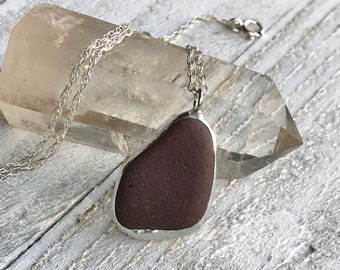 Red Sea Glass Necklace - Sea Glass Jewelry - Mothers Day Gift - Beach Jewelry - Sterling silver necklace - Beach Lover Gift - Real Sea Glass