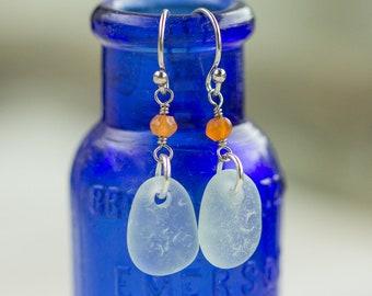Sea glass earrings - Sea glass jewelry - Carnelian jewelry - Aqua sea glass jewelry - Beach wedding jewelry - Beach lover Gift