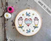 Hoop Art Love sets us free, Embroidery art, Embroidery illustration, Hand embroidery, Modern wall hanging, modern embroidery.