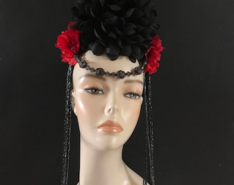 Gothic Day of the Dead Head Dress Headpiece Black Red Beaded Floral Crown