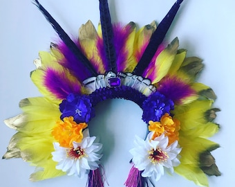 Canary Yellow Feather Brazil Carnival Festival Floral Head Dress Statement Sequin Head Piece