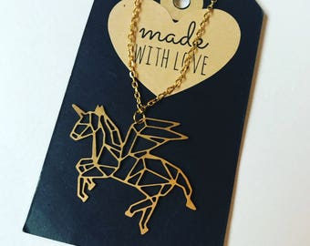 Brass Unicorn Pegasus Flying Horse Charm Chain Necklace