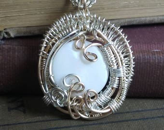 White Shell Sterling Silver and Gold Tone Wire Wrapped Pendant