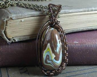 Polymer Clay and Brown Wire Wrapped Pendant