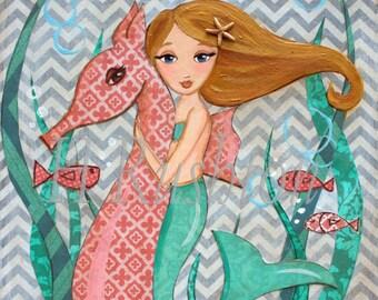 Mermaid Decor - Mermaid Art - Children's Mermaid Art- Mermaid - Mermaid Print- Art Print Sizes 5x7or 8x0  by HRushton