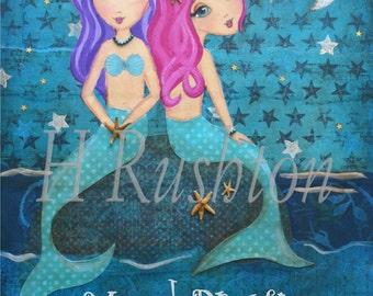 Mermaid Dreams- Mermaid Decor- Mermaid Art for Children - Kids Wall Art - Mermaid  Print-  Sizes 11x14 or 16x20