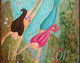 Mermaid Art - Kids Wall Art- Mermaid Wall Decor- Childrens Mermaid Art- Large Art Print Sizes 11x14 or 16x20