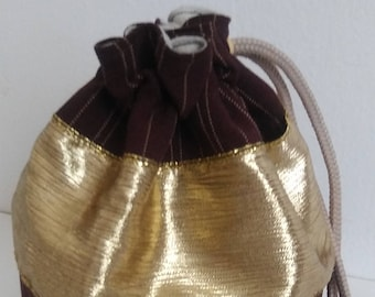 Brown Pinstripe and Gold Dice bag