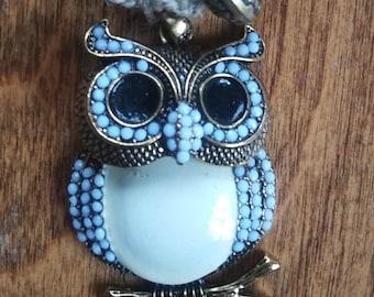 Metal Owl Pendant on Natural Hemp Necklace