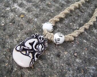 Extra Long Natural Hemp with Ceramic Beads and Monkey Pendant Unisex