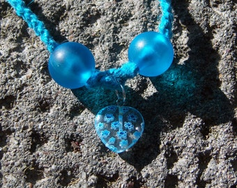 Blue Hemp with Blue Beads and Glass Heart