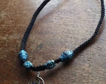 Black Cotton with Blue Beads and Dreamcatcher