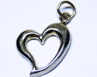 Contemporary Sterling Silver Heart Charm