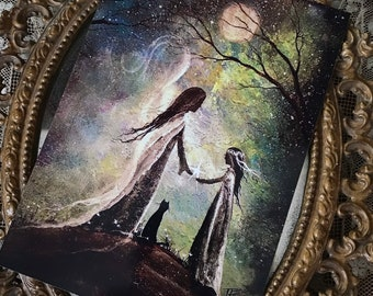 5x7 One Art Print from my Original Painting Angel Mother Daughter Cat Faerie Girl Victorian Full Moon Witch Goddess Terri Foss