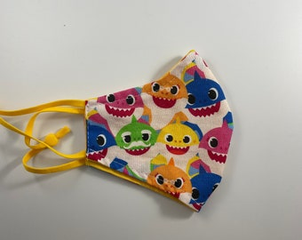 KIDS Contoured Baby Shark Face Coverings Mask Cotton