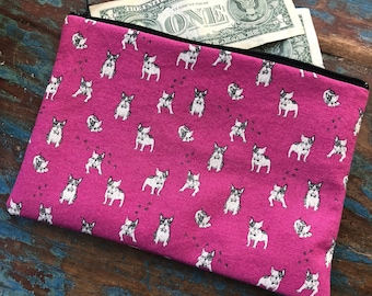 medium zipper pouch frenchie love