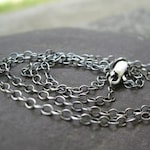 sterling silver cable chain . oxidized chain or shiny chain finish . add to any pendant . 18 inch ADJUSTABLE length . Ready To Ship