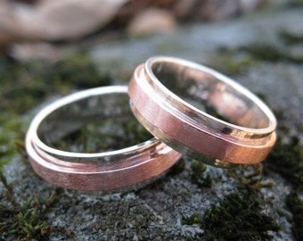 Copper Ridge Wedding Band . personalized ring . mixed metal ring . sterling silver and copper band . mans wedding band . READY TO SHIP sz 9