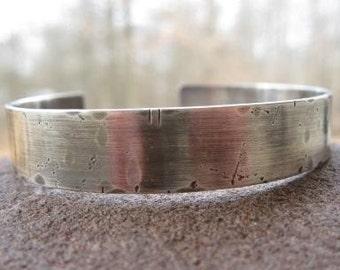 Personalized Rustic Mens Sterling Silver Cuff Bracelet. weather-worn cuff . unisex cuff . boyfriend cuff . custom inscribe with your words