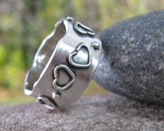 sterling silver personalized wide band with hearts & dots . I Carry Your Heart . stamped silver band . READY TO SHIP sz 8 1/2 . jewelry sale