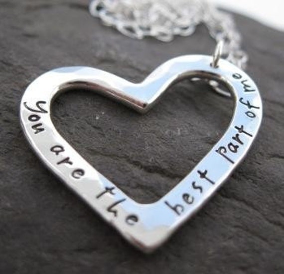 Personalized Journal Heart Bracelet inscribed with your choice of words in my NEW Journaling Lowercase Font sterling silver