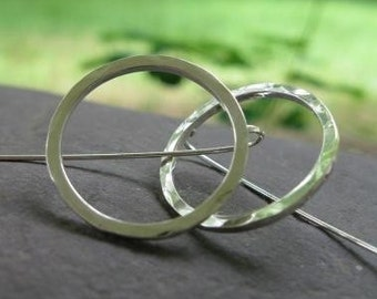 Simple, Everyday Sterling Silver Circle Earrings . bent- post earwires . large 1 inch diameter circle earrings . READY TO SHIP