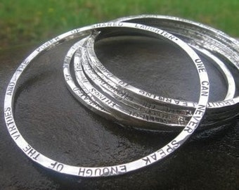 thick personalized sterling silver bangle with words . Silver Keepsake Bangle . 2sides stamped . names, dates, scripture .silversmith bangle