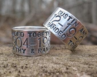 Custom Silver Duck Band Wedding Ring. sterling silver goose band ring. rustic duck band for men .rustic duck band for women .finger sz 10-13