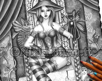 Adult Coloring Page - Grayscale Coloring Page Pack - Printable Coloring Page - Digital Download - Fantasy Art - HEATHER - Nikki Burnette