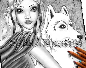 Adult Coloring Page - Grayscale Coloring Page Pack - Printable Coloring Page - Digital Download - Fantasy Art - FALLON - Nikki Burnette