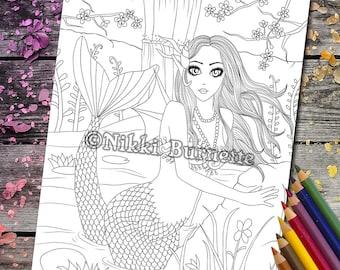 Coloring Page - Digital Stamp - Printable - Fantasy Art - Mermaid - Koi Pond - Stamp - Adult Coloring Page - FELICITY - by Nikki Burnette