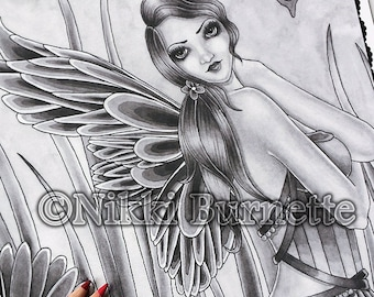 Adult Coloring Page - Grayscale Coloring Page Pack - Printable Coloring Page - Digital Download - Fantasy Art - LISSA - by Nikki Burnette