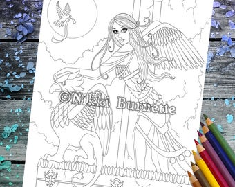 Coloring Page - Digital Stamp - Printable - Fantasy Art - Stamp - Adult Coloring Page - ALICIA - by Nikki Burnette