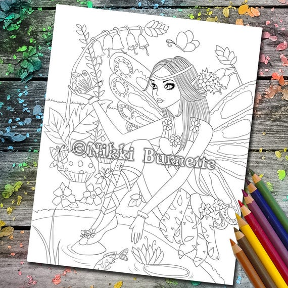 image about Stamp Printable titled Coloring Site - Electronic Stamp - Printable - Myth Artwork - Fairy - Butterfly - Pond - Stamp - Grownup Coloring Webpage - FLORA - by way of Nikki Burnette