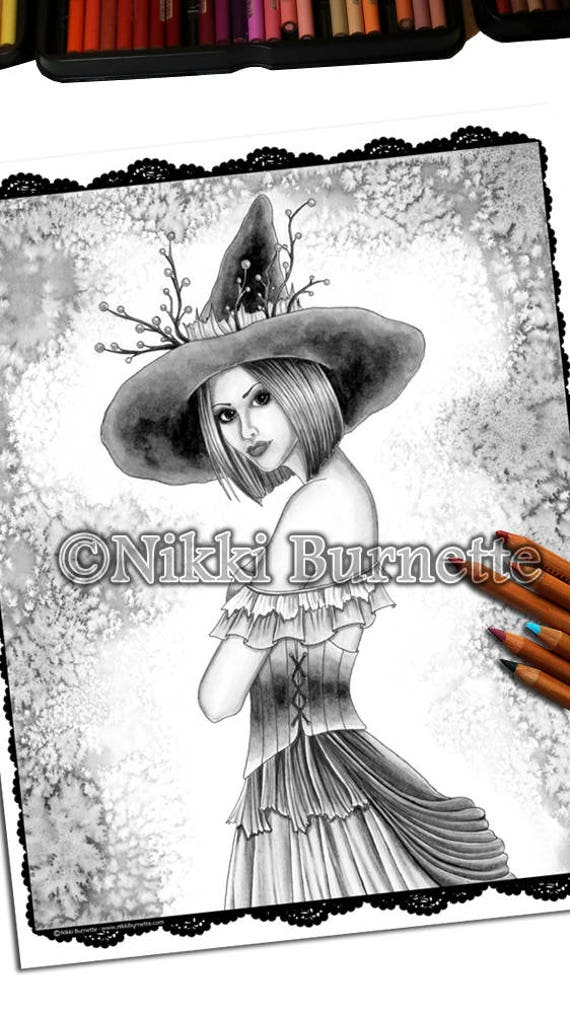 Adult Coloring Page - Grayscale Coloring Page Pack - Printable Coloring  Page - Digital Download - Fantasy Art - WILLOW - Nikki Burnette