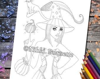 Coloring Page - Digital Stamp - Printable - Fantasy Art - Stamp - Adult Coloring Page - HAZEL - by Nikki Burnette