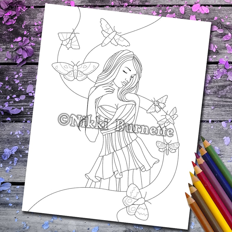 Coloring Page  Digital Stamp  Printable  Fantasy Art  image 0