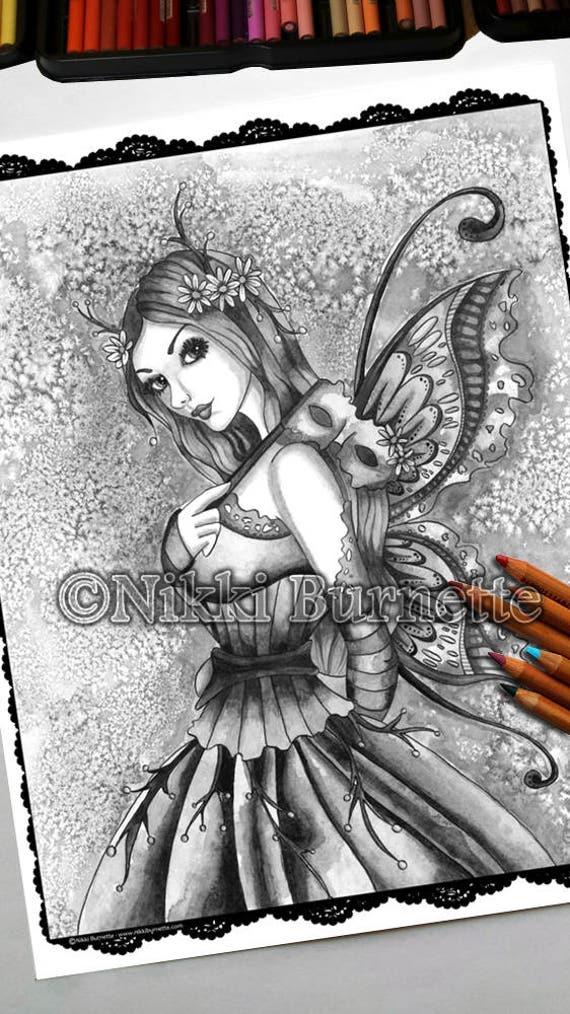Adult Coloring Page - Grayscale Coloring Page Pack - Printable Coloring  Page - Digital Download - Fantasy Art - ARDEN - Nikki Burnette