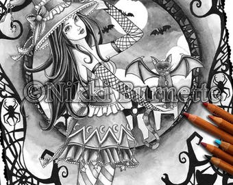 Adult Coloring Page - Grayscale Coloring Page Pack - Printable Coloring Page - Digital Download - Fantasy Art - AELITA - Nikki Burnette