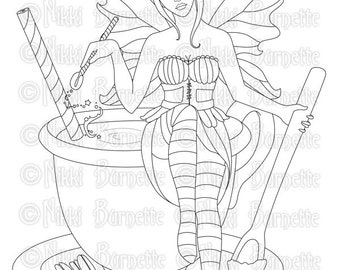 Digital Stamp - Printable Coloring Page - Fantasy Art - Fairy Stamp - Adult Coloring Page - Sadie - by Nikki Burnette - PERSONAL USE