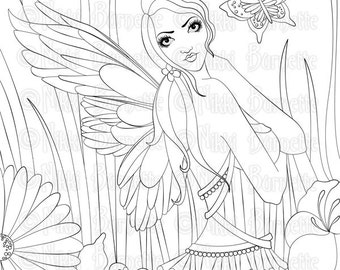 Digital Stamp - Printable Coloring Page - Fantasy Art - Fairy Stamp - Adult Coloring Page - Lissa - by Nikki Burnette - PERSONAL USE