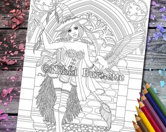 Witch Coloring Page - Digital Stamp - Printable - Fantasy Art - Stamp - Adult Coloring Page - AERYN - by Nikki Burnette - 2 Versions