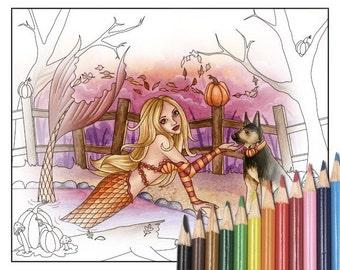 Digital Stamp - Printable Coloring Page - Fantasy Art - Mermaid Stamp - Sabrina - by Nikki Burnette - PERSONAL USE