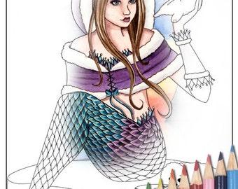 Digital Stamp - Printable Coloring Page - Fantasy Art - Mermaid Stamp - Edeline - by Nikki Burnette - PERSONAL USE ONLY