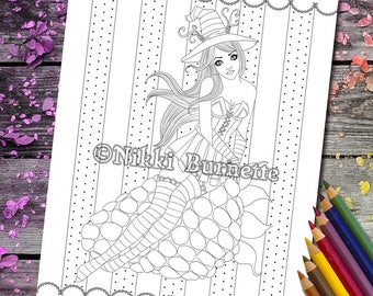 Coloring Page - Digital Stamp - Printable - Fantasy Art - Stamp - Adult Coloring Page - RIANNA - by Nikki Burnette