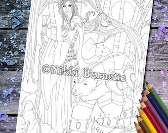 Coloring Page - Digital Stamp - Printable - Fantasy Art - Stamp - Adult Coloring Page - Polar Bear - Fairy - SALENE - by Nikki Burnette